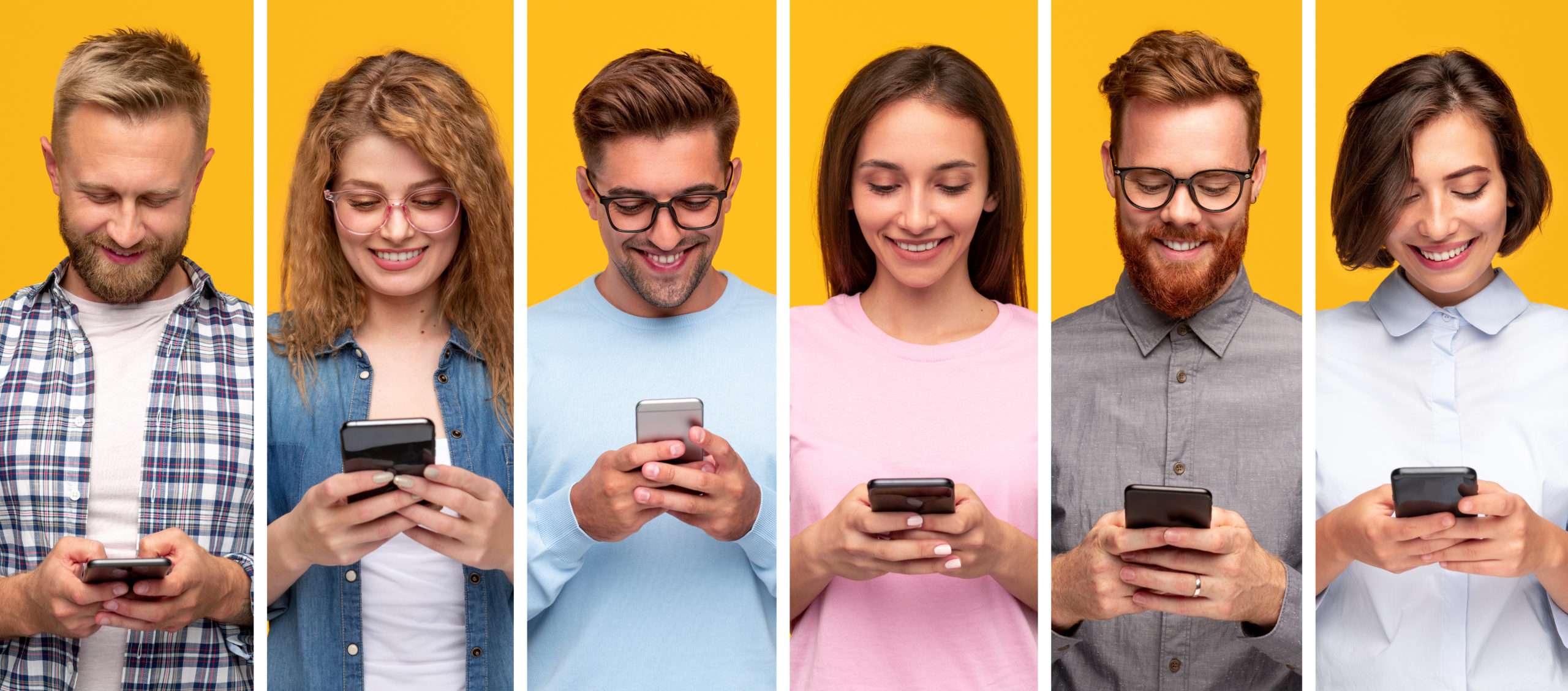 Collage of modern diverse men and women texting messages on smartphones and cheerfully smiling against yellow background